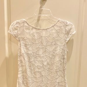 Kay Unger White Lace Sequins Feathers Dress